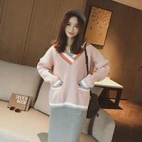 2016秋冬女装新款韩版宽松短款长袖针织毛衫学生拼色V领套头毛衣