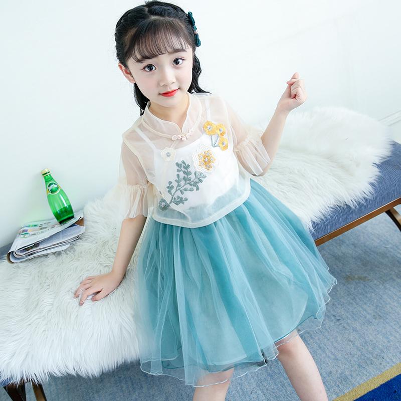 女童汉服秋改良唐装女宝宝复古春秋装套装亲子中国风童装儿童古装