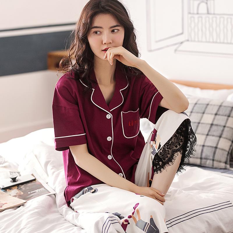 睡衣女士夏季纯棉短袖卡通可爱韩版开衫宽松家居服休闲可外穿套装