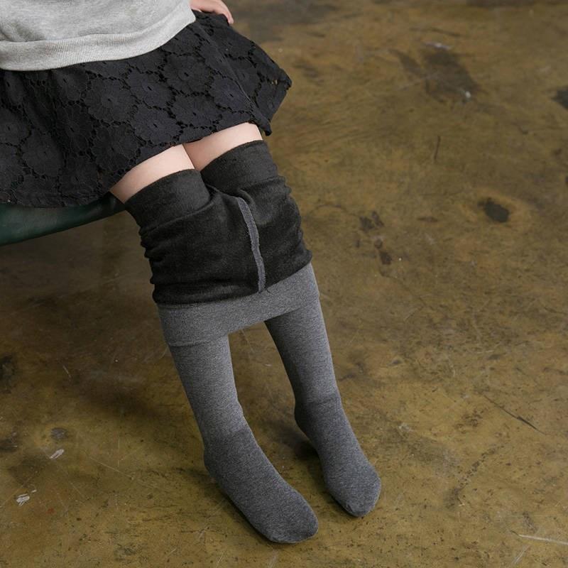 秋冬季加絨加厚兒童連褲襪精梳棉白色舞蹈襪女童打底褲保暖棉襪
