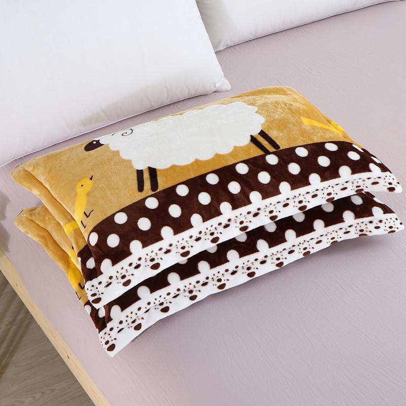 枕头套珊瑚绒 一对装枕芯套法莱绒枕皮单人加绒枕芯罩法兰绒枕套