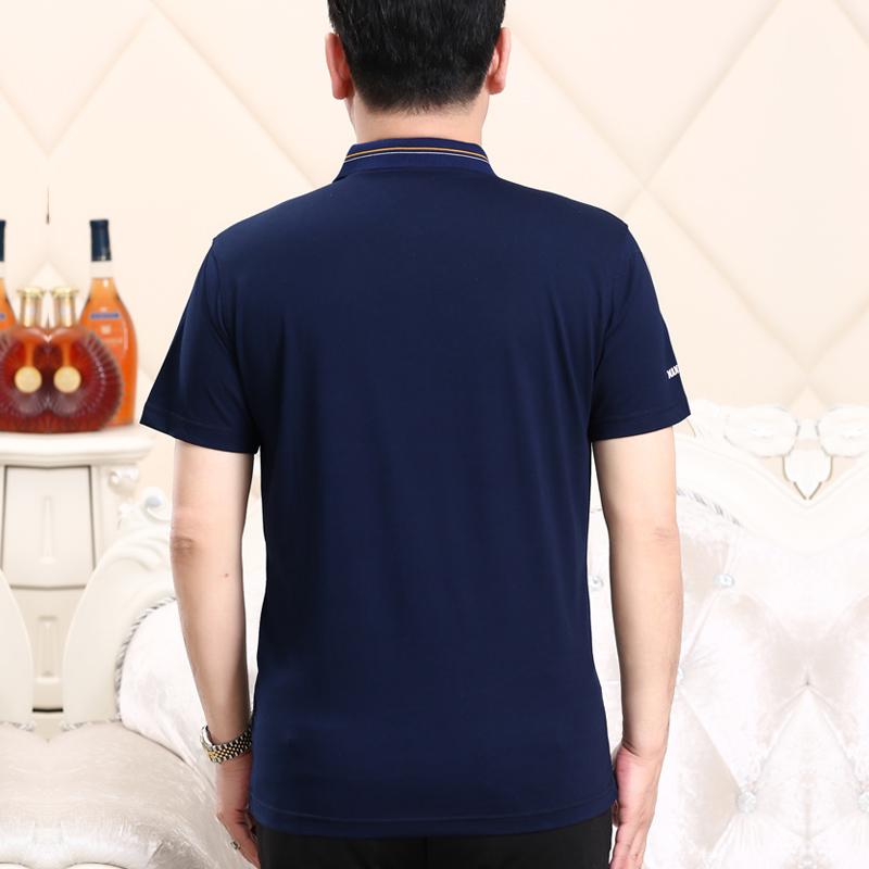 申本2018年新款中老年人T恤翻领丝光棉polo衫体恤中年男士短袖t恤
