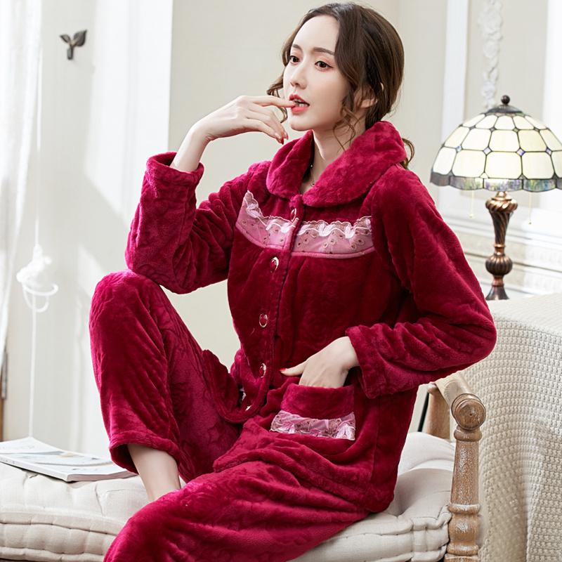 冬天睡衣女士冬天法兰绒加绒加厚中老年珊瑚绒家居服中年妈妈套装