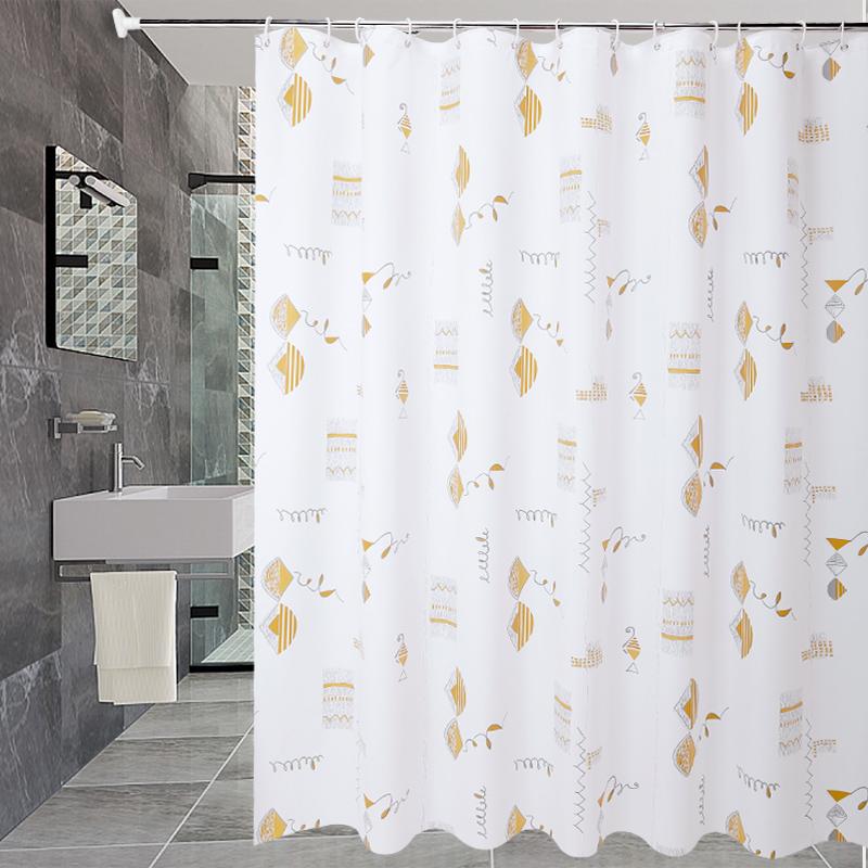 卫生间加厚浴帘布防霉防水浴帘套装免打孔浴室隔断帘门帘窗户挂帘