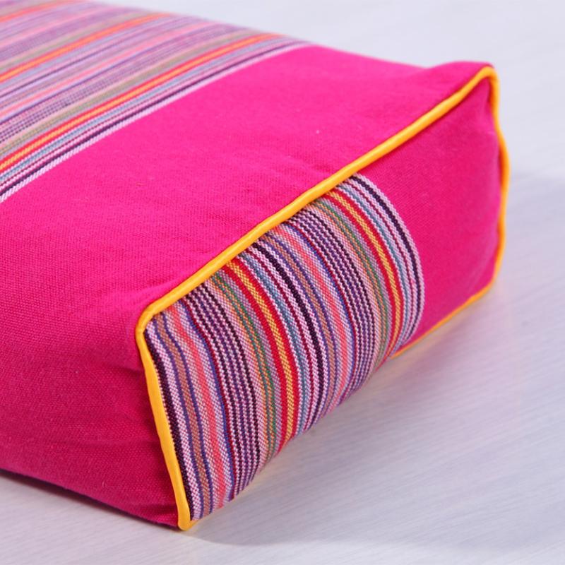荞麦枕头粗布荞麦壳方形保健颈椎枕学生成人枕头红色芯单人夏凉枕