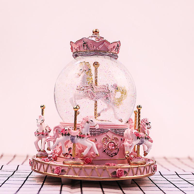 创意 diy 旋转木马水晶球八音盒音乐盒儿童生日礼物女生送女孩闺蜜