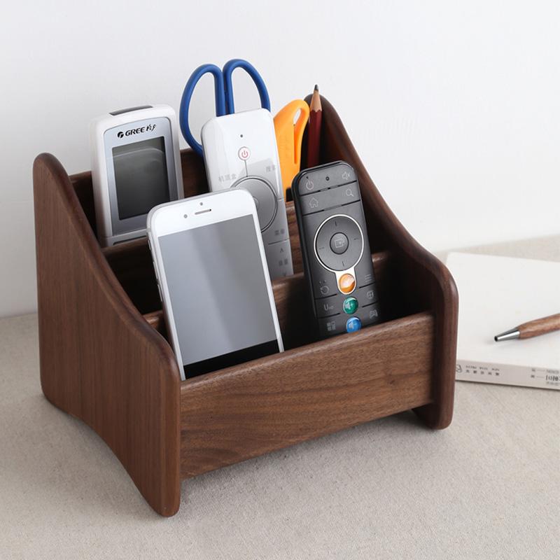 实木遥控器收纳盒电视摇控木质欧式桌面遥控板客厅茶几钥匙收纳架
