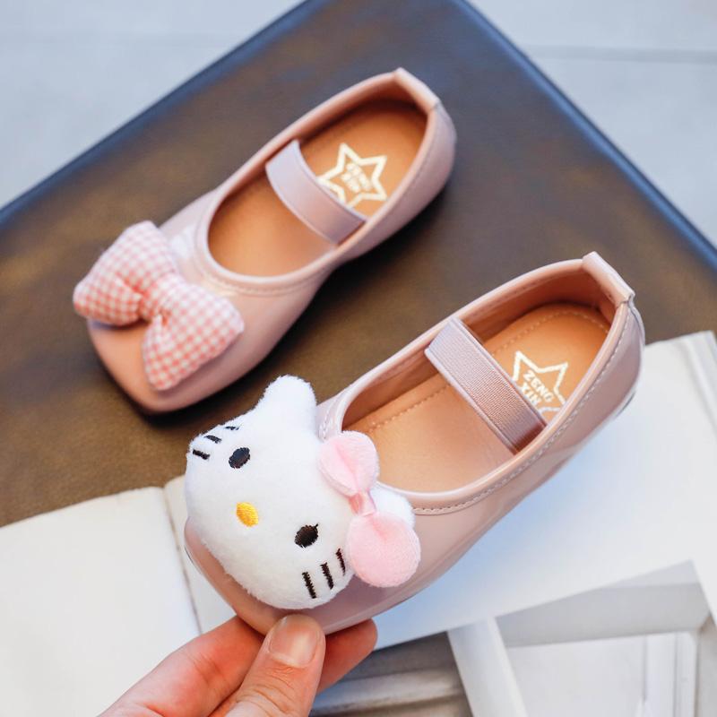 儿童可爱小猫单鞋2021春季新款女童套脚方头皮鞋防滑软底中大童鞋