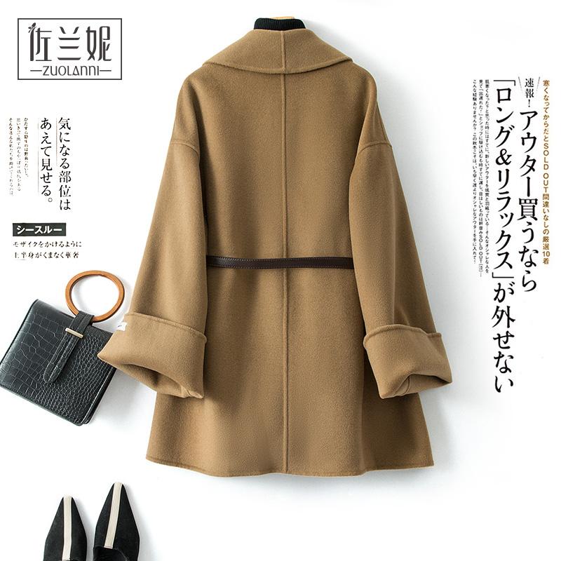 斗篷双面羊绒大衣女短款小个子时尚宽松日系毛呢外套韩版2020新款
