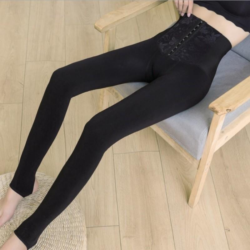 每人限1件秋冬季加绒收腹高腰裤子可调节三排扣压力打底裤外穿