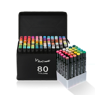 Touch mark马克笔48色双头套装小学生水彩笔正版24色36色儿童漫画彩色美术生专用80色60色全套100色水性软头