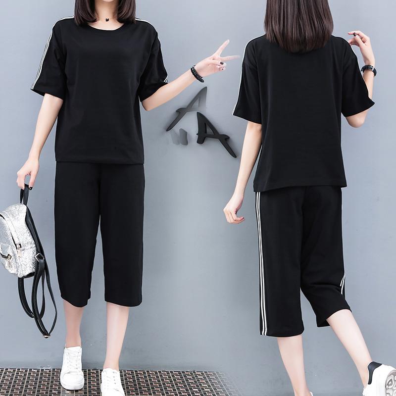 2018秋新款韩版运动套装女夏季跑步宽松休闲服学生两件套装女潮