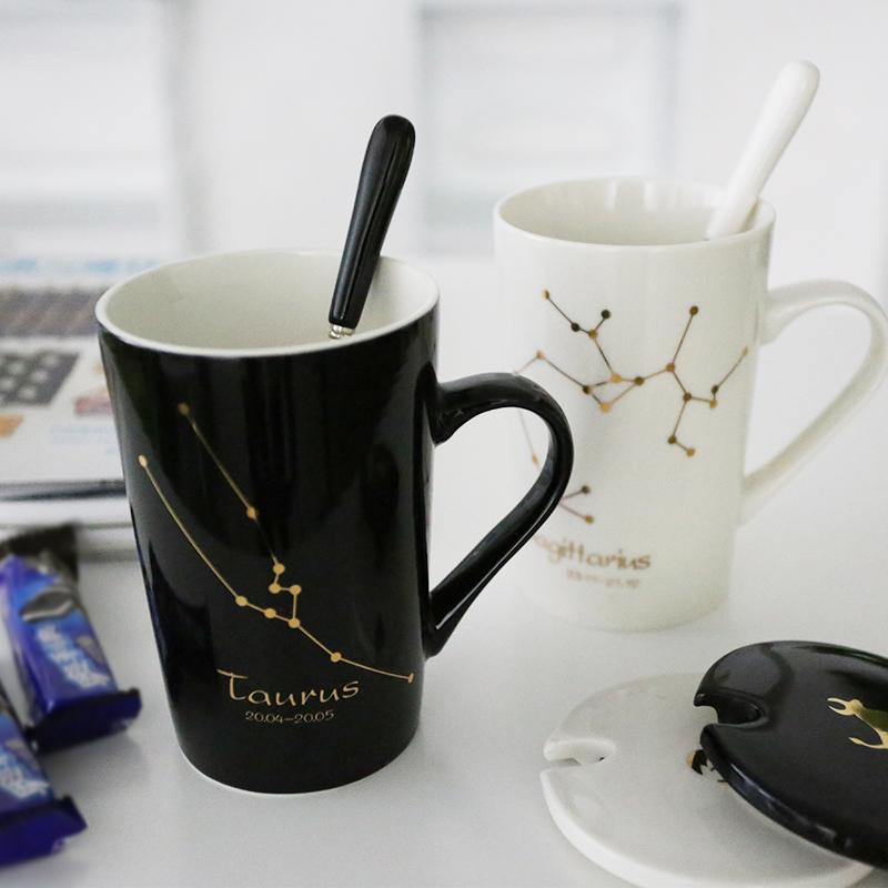 个性创意十二星座陶瓷马克水杯 新骨瓷办公室咖啡杯泡茶带盖杯子