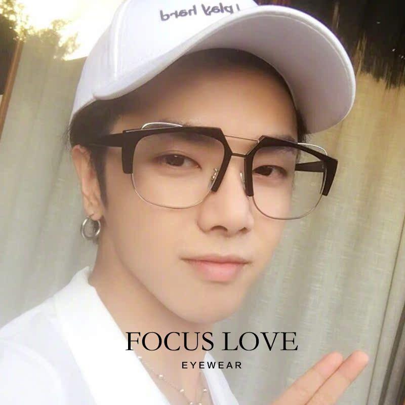 抖音超火黄景瑜同款眼镜白色全透明框塑料方形平光镜赵英男近视潮