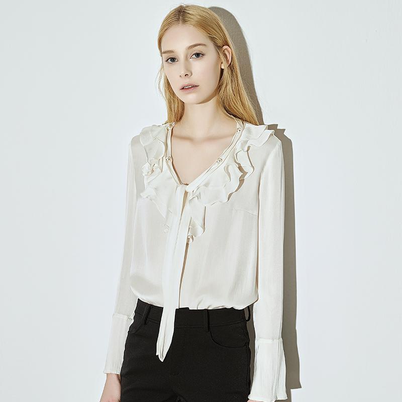 新款喇叭袖真丝衬衫重磅桑蚕丝上衣白衬衣飘带v领荷叶边衬衣女秋