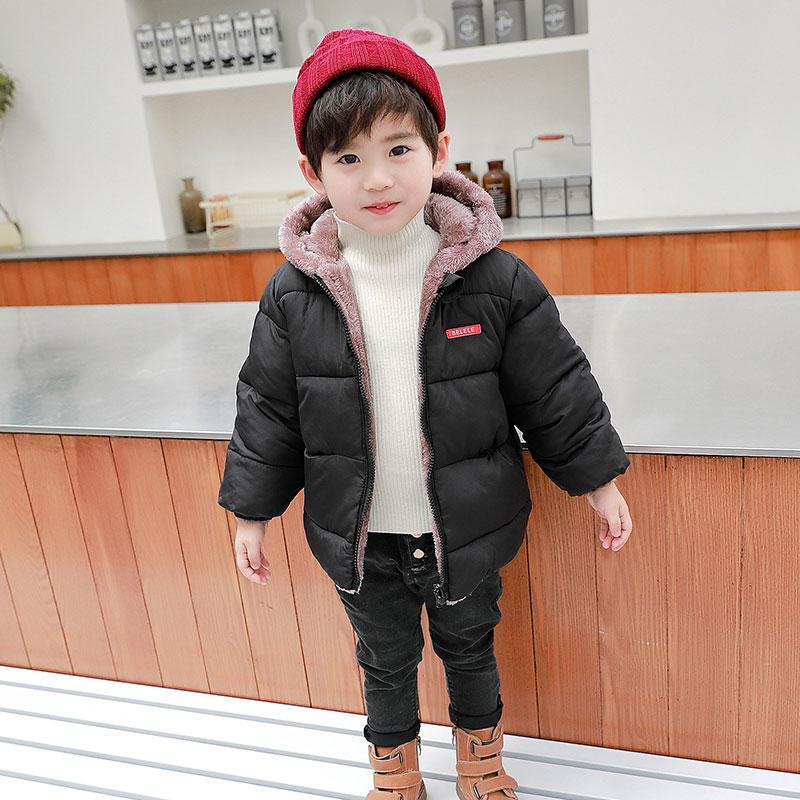 儿童羽绒棉衣秋冬外套男童加绒棉服宝宝双面穿中小童女童童装洋气