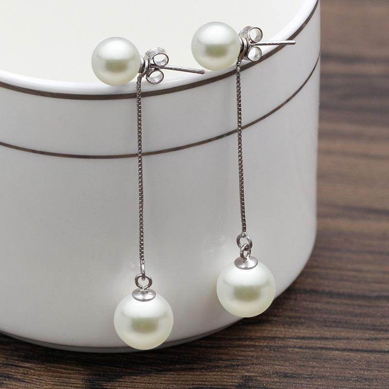 S990足银耳钉女长款高级感流苏玛瑙耳线仙气质饰品贝壳珠纯银耳环