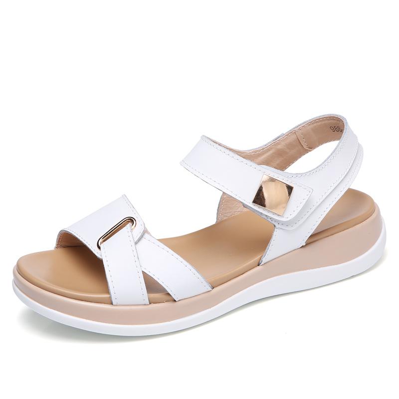新款百搭平底平跟女士露趾凉鞋2018夏季学生休闲厚底松糕真皮女鞋