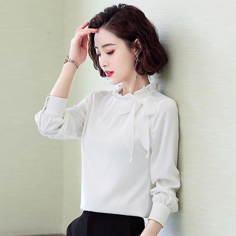 甜美立领飘带雪纺衬衫女2020春装新款超仙气质上衣宽松遮肚小衫