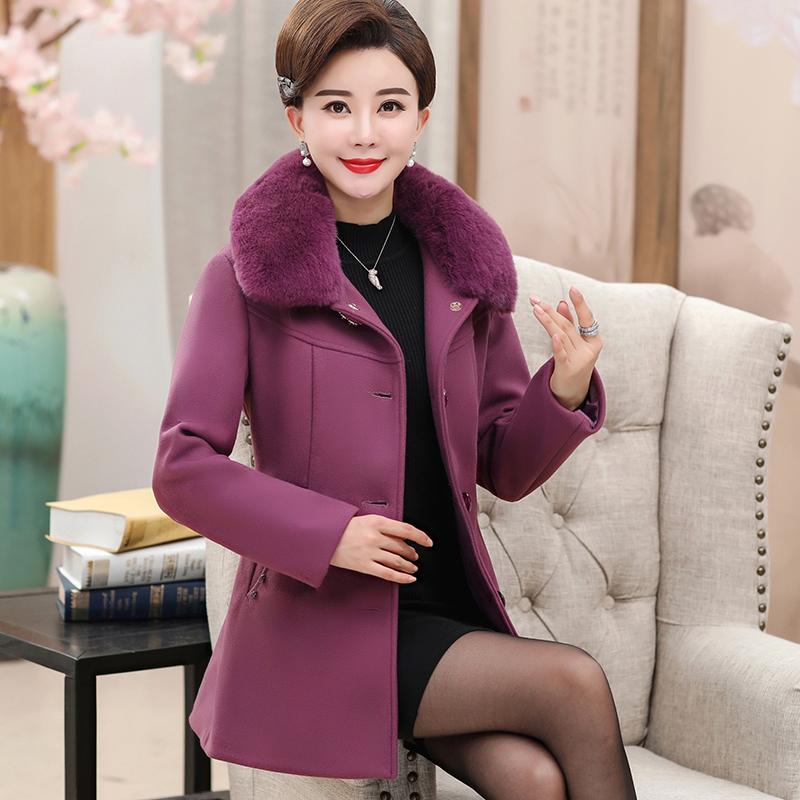 中老年女装烫钻秋冬毛呢外套中年加棉外套中长款妈妈装毛呢大衣