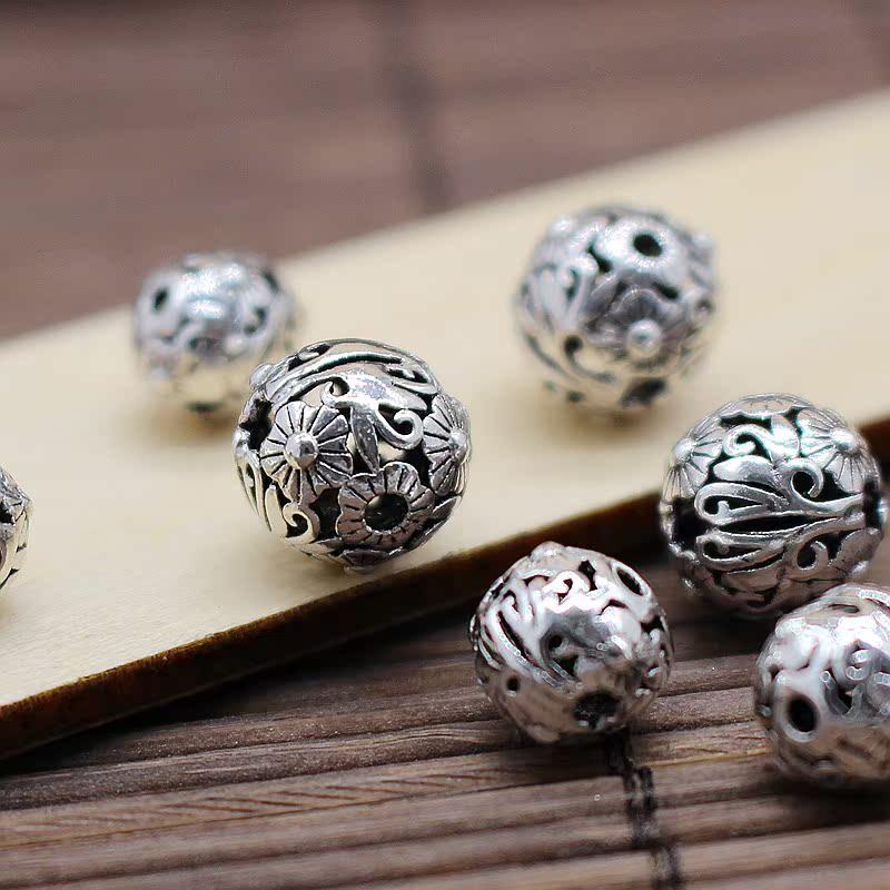 s925项链珠子diy泰银纯银太阳花圆珠红绳配件手链吊坠集装箱干燥剂图片