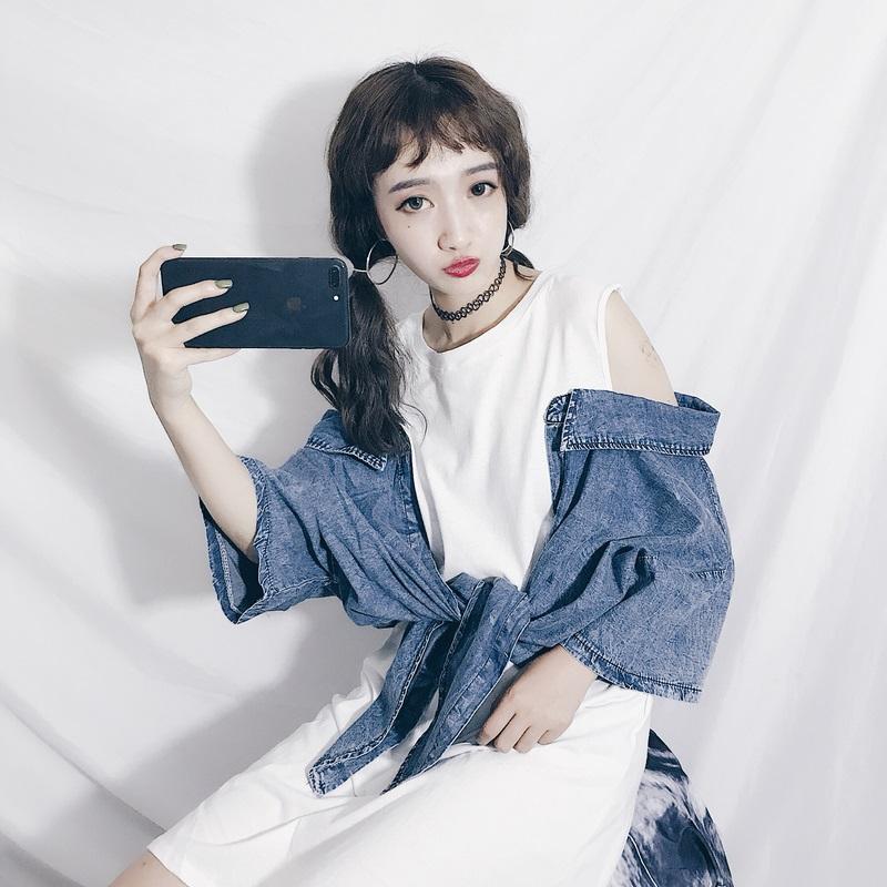 夏季女装新款韩版中长款拼接牛仔衬衣宽松无袖T恤连衣裙显瘦裙子