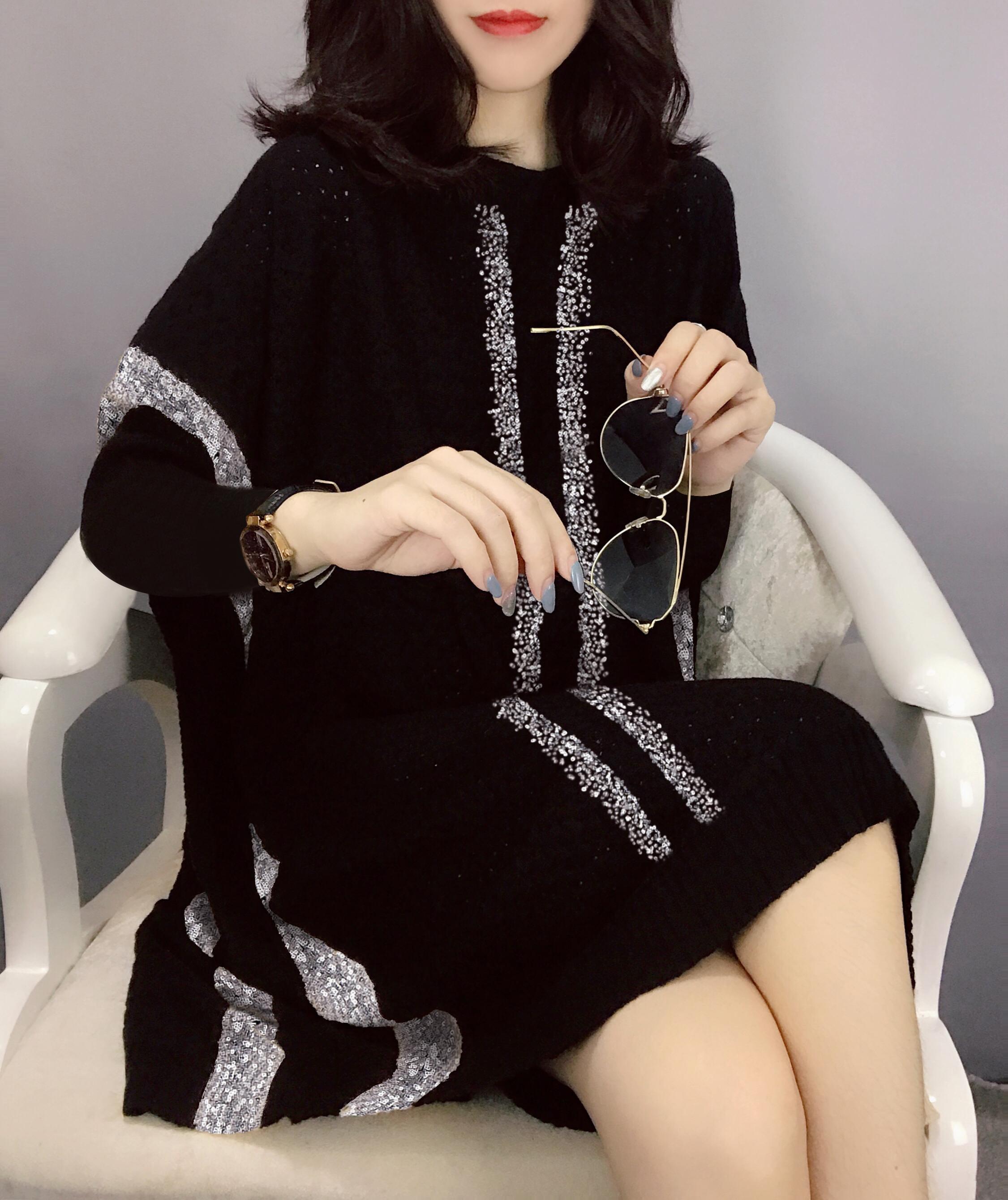 时尚中长款裙子黑色针织气质连衣裙女欧洲站潮秋季女装2020新款L