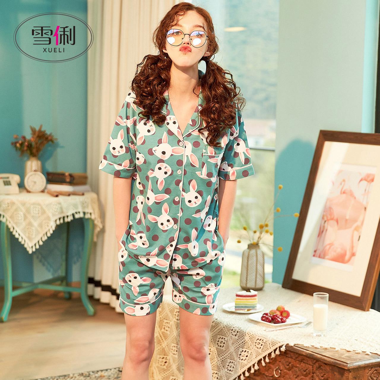 雪俐睡衣女夏季短袖短裤棉质卡通薄款夏天两件套可爱家居服女套装