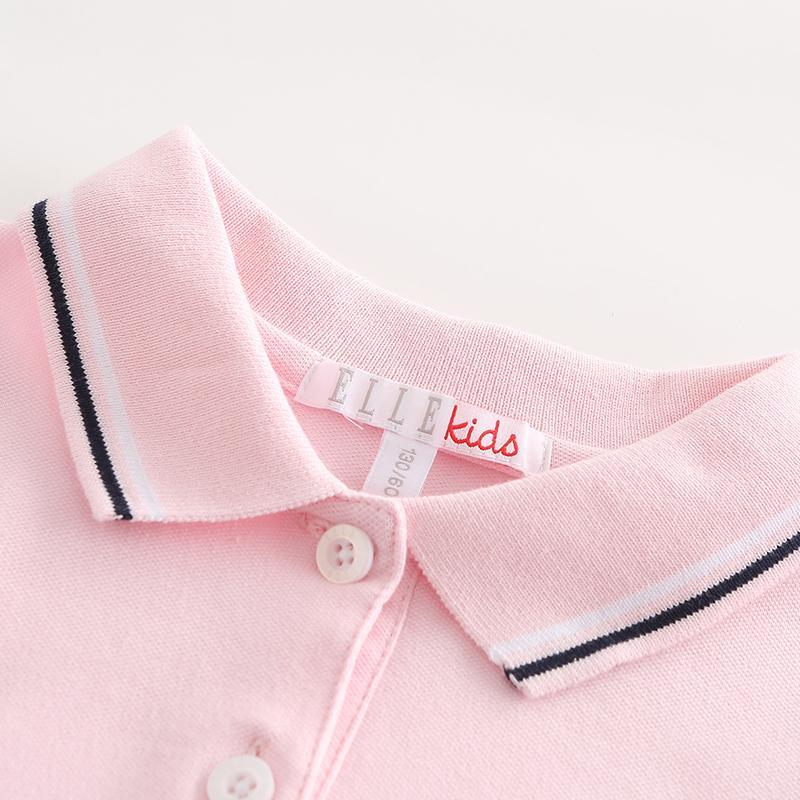 ELLE Kids童装女童翻领短袖针织polo连衣裙拼接夏季新款儿童裙子