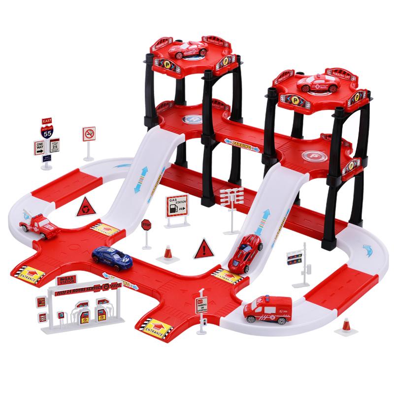 儿童停车场玩具车合金小汽车模型男孩子6周岁3益智5男童小孩4宝宝