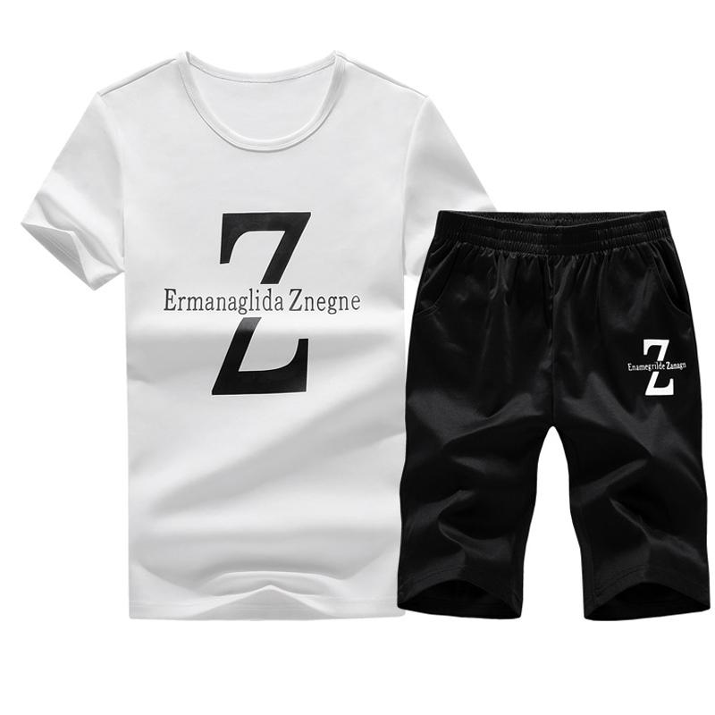 希彼两件套夏季男士短袖T恤韩版休闲运动套装2018新款衣服男夏装