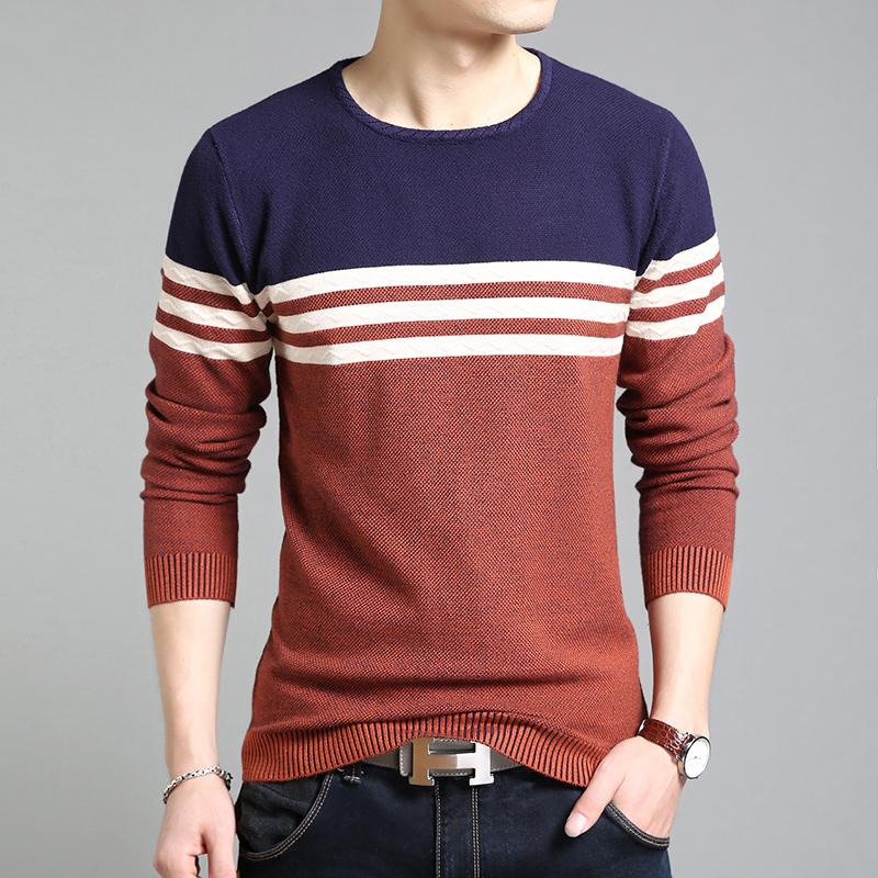 男士圆领针织长袖T恤韩版修身打底衫纯色休闲外穿上衣服潮流男装