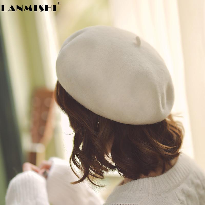 网红贝雷帽女日系甜美秋冬韩版百搭羊毛蓓蕾帽画家帽休闲加厚帽子