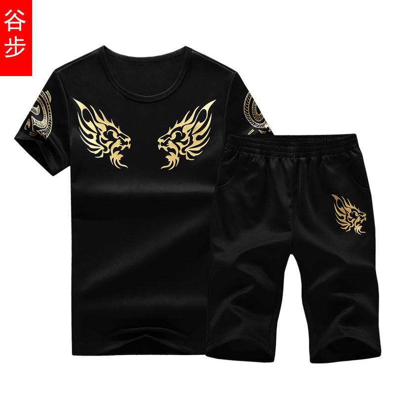 谷步2018夏季男士韩版修身大码休闲时尚T恤五分裤青少年运动套装
