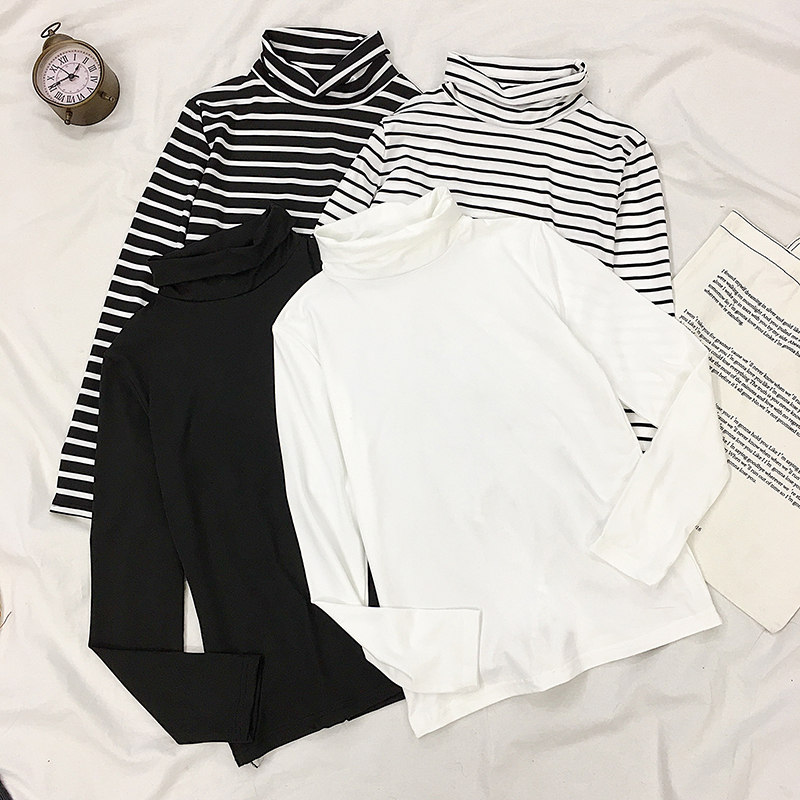 打底衫女2020新款韩版高领条纹内搭长袖T恤秋冬洋气堆堆领上衣潮