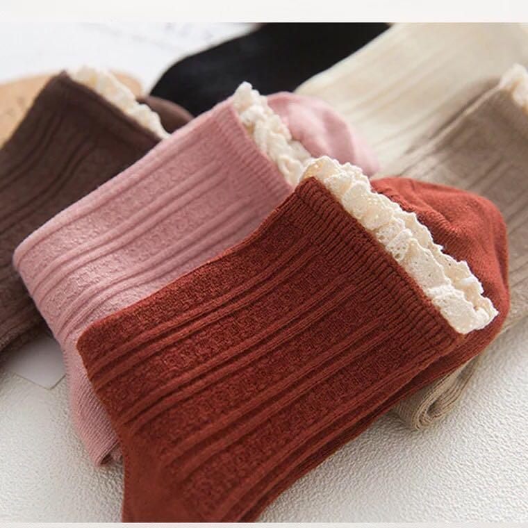 包邮5双春秋女袜子中筒袜学生船袜女士全棉船袜学院风纯棉女短袜