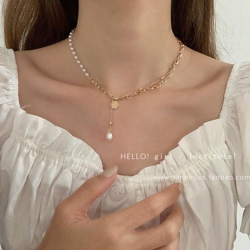 设计感珍珠链条拼接项链2021年新款女轻奢小众简约气质锁骨链配饰
