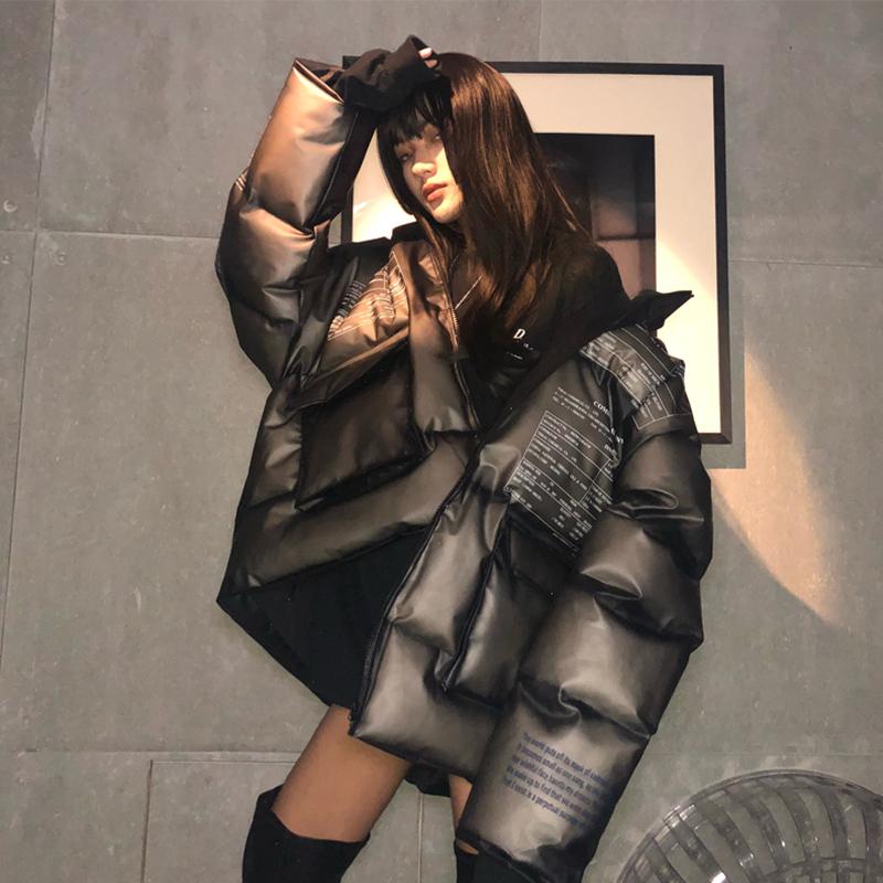 国潮牌透明网红羽绒棉服ins港风男女情侣外套嘻哈面包服短款冬PVC
