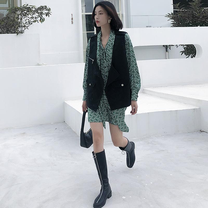 K家印花雪纺连衣裙女长袖2020修身显瘦中长款衬衫裙欧货新款女装