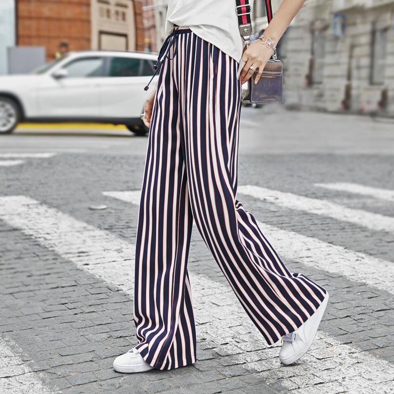 K家竖条纹阔腿裤女长裤2018夏季新款宽松薄款松紧高腰直筒休闲裤