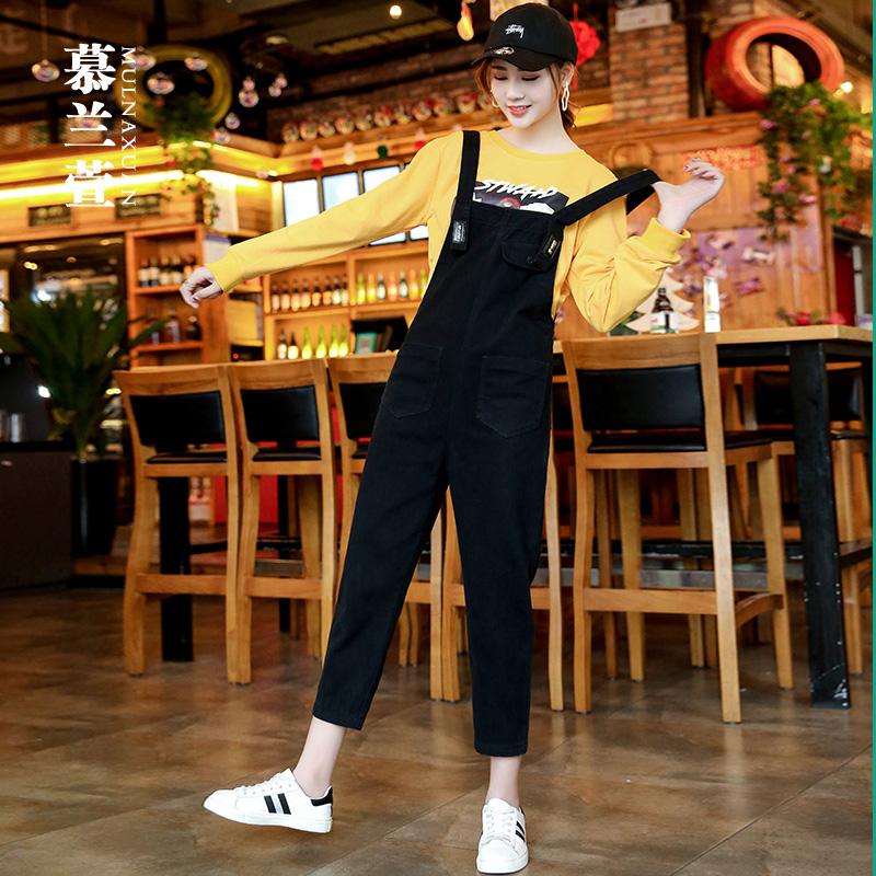 减龄牛仔背带裤女夏薄款韩版宽松黑色显瘦学生吊带直筒九分连体裤