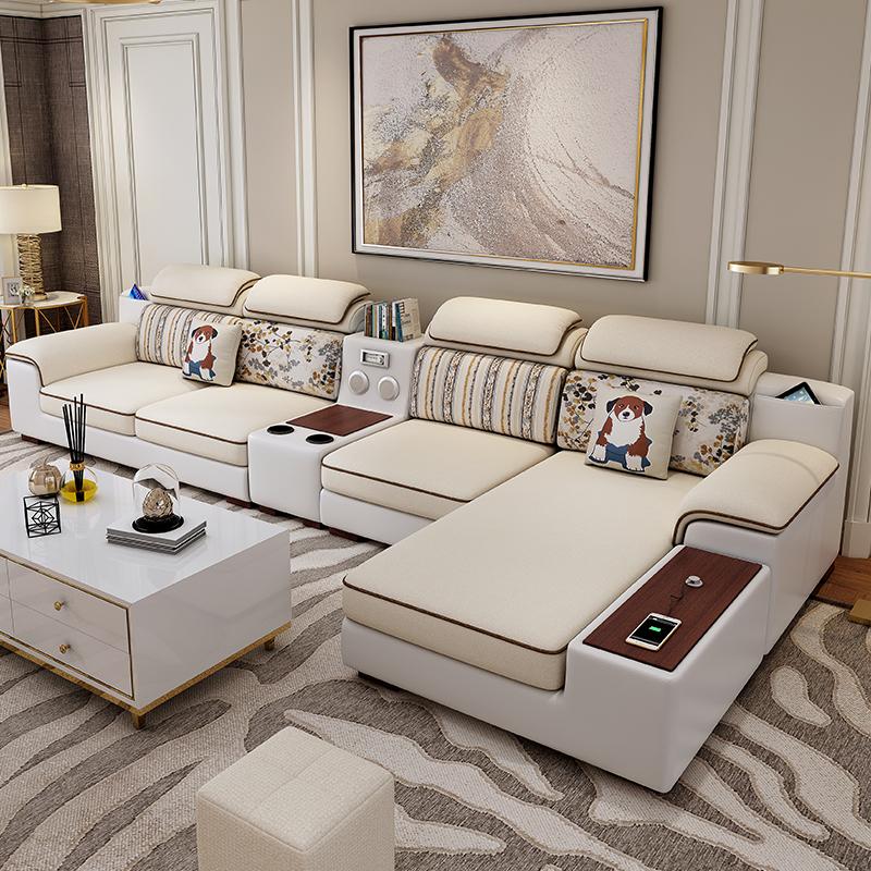 2019新款皮布沙发组合客厅整装现代简约转角大小户型乳胶布艺沙发图片