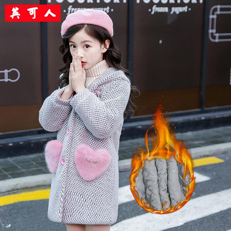 女童金貂绒格子外套秋冬2018新款加绒加厚儿童装中童夹棉毛呢大衣