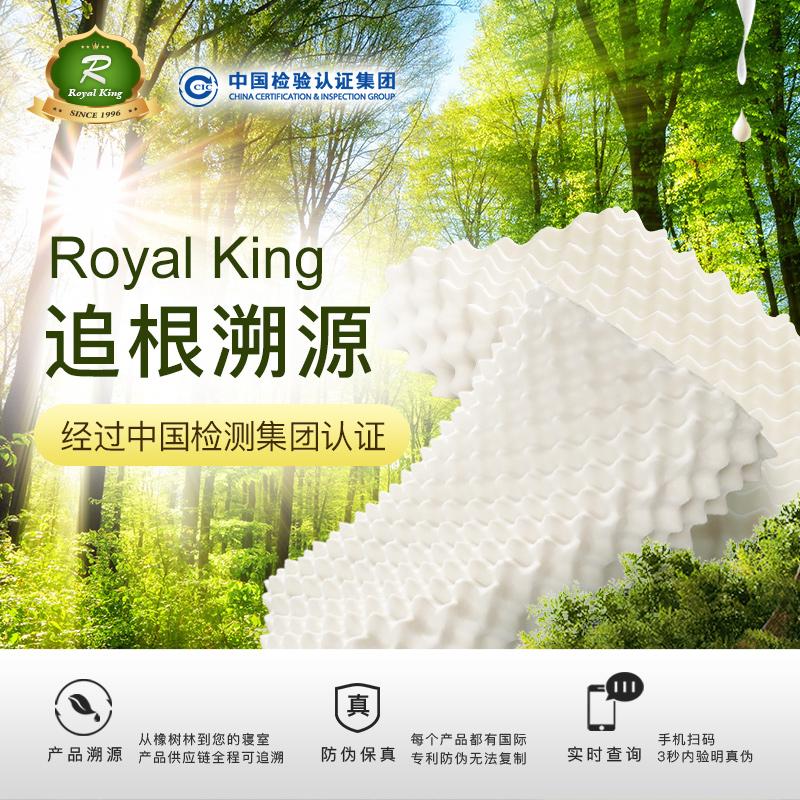 Royal King泰国皇家纯进口天然乳胶枕头成人橡胶枕头护颈椎枕芯B