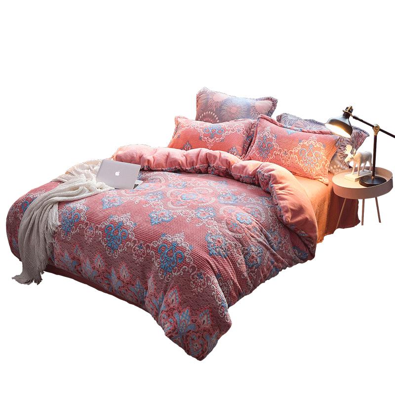 北爱6D雕花珊瑚绒四件套冬季加厚双面床单被套床上少女法兰绒