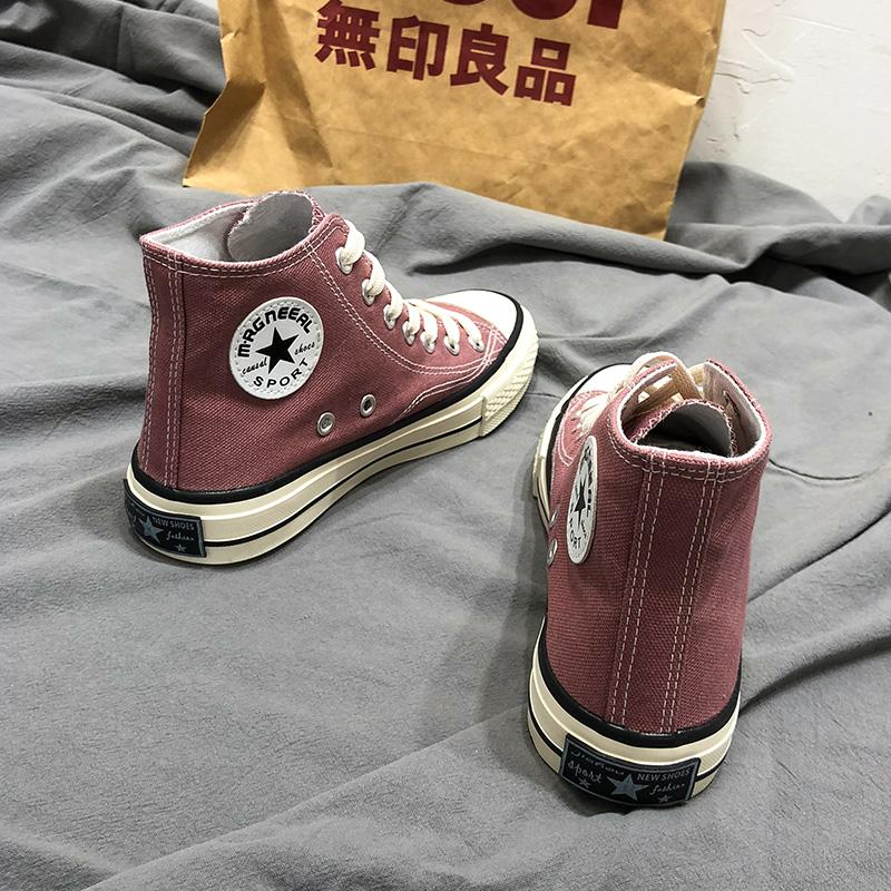 2019秋季新款1970S高帮帆布鞋女学生韩版原宿ulzzang百搭港风板鞋