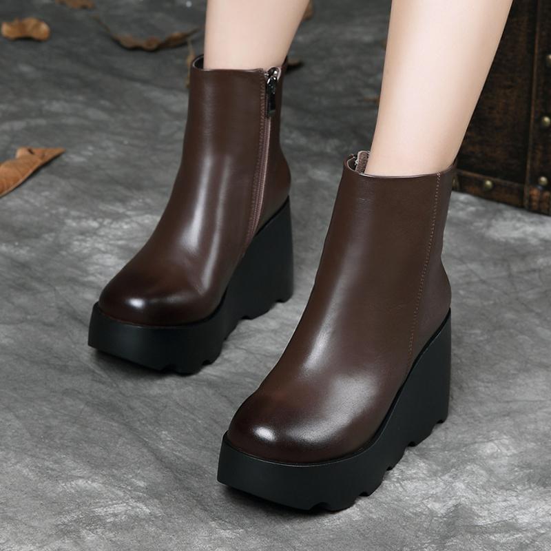 棉鞋女秋冬新款真皮加绒马丁靴女英伦风防水台松糕厚底坡跟短筒靴
