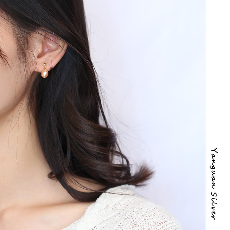 925纯银天然异形巴洛克珍珠耳环女新款小众饰品韩国气质吊坠耳钉