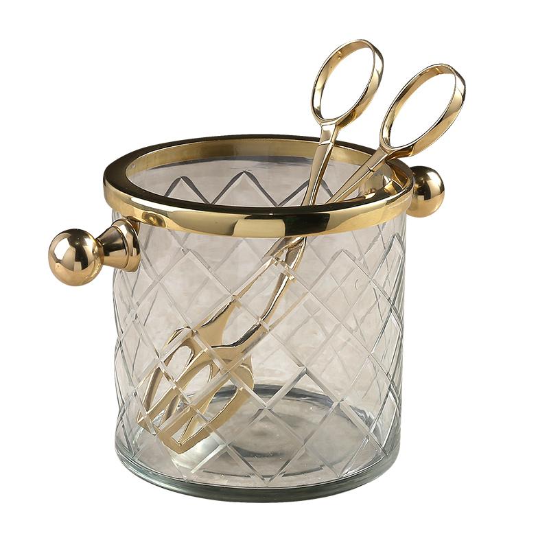 法式轻奢高档玻璃葡萄酒冰桶家用红酒香槟酒桶酒吧创意啤酒干冰桶