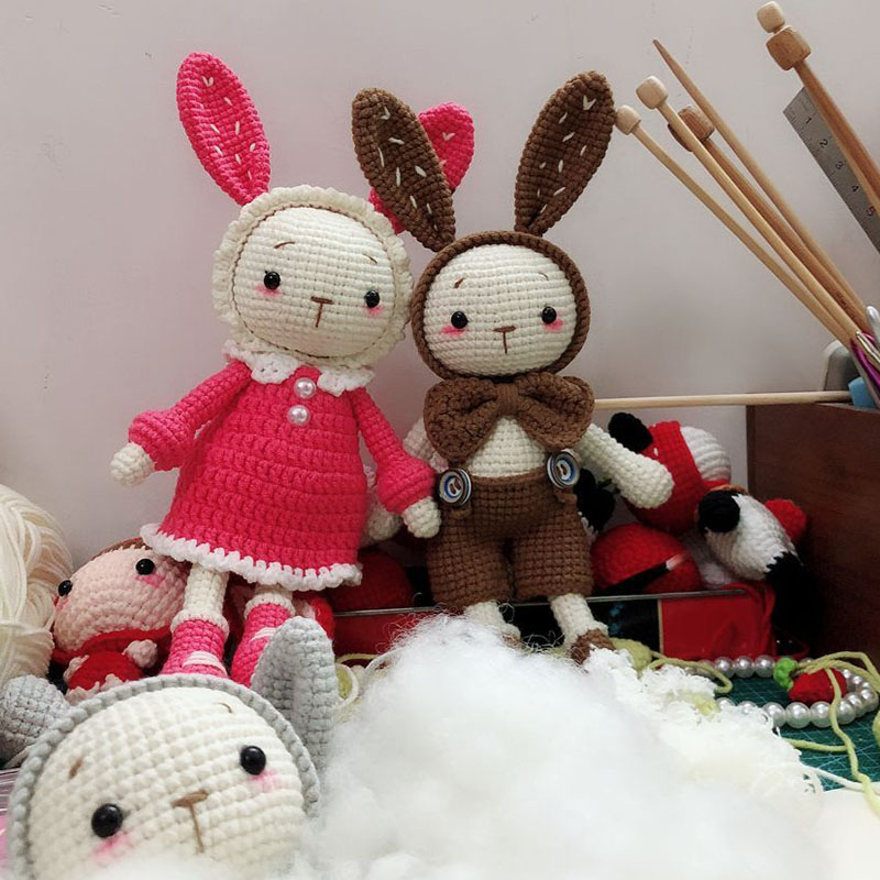 送教程 礼物材料包 diy 换装甜美兔 手工钩织毛线玩偶 西米概念